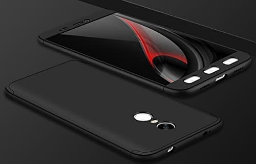 Royal Star Luxury Design Full Body 3-in-1 Slim Fit Complete 360 Degree Protection Hybrid Matte Finish Hard Bumper Back Cover Case for Xiaomi Redmi Note 4 (Full Black) 1