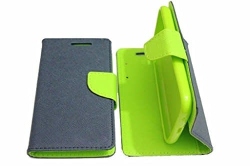 BRAND FUSON(TM) Mercury Goospery Fancy Diary Wallet Flip Cover For Micromax Canvas 2 Colors A120 - Blue Green 1