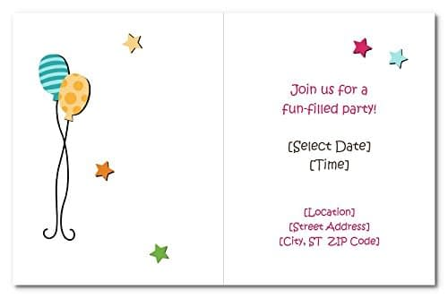 Birthday Invitation Cards for Kids With Customized Details i.e. Name, Date, Time, Venue, Size: two folded 4.20 x 5.4 inch, without envelope (Quantity 20 Cards) 5