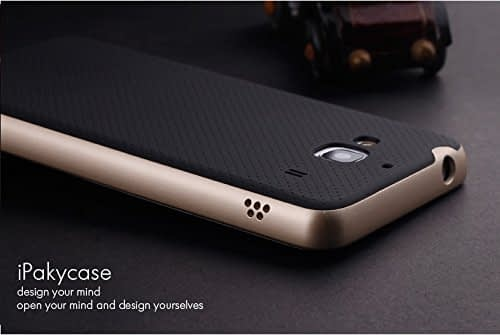 Original iPaky Brand Luxury High Quality Ultra-Thin Dotted Silicon Black Back + PC Golden Frame Bumper Back Case Cover For Xiaomi Redmi 2 / Redmi 2 Prime - Black Golden 4