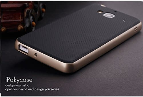 Original iPaky Brand Luxury High Quality Ultra-Thin Dotted Silicon Black Back + PC Golden Frame Bumper Back Case Cover For Xiaomi Redmi 2 / Redmi 2 Prime - Black Golden 3
