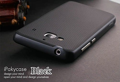 iPaky Brand High Quality Ultra-Thin Dotted Silicon Black Back + PC Grey Frame Back Case Cover For Xiaomi Redmi 2 / Redmi 2 Prime - Black Grey 1