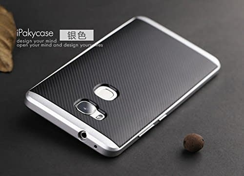 Original iPaky Brand Luxury High Quality Ultra-Thin Dotted Silicon Black Back + PC Silver Frame Bumper Back Case Cover For Huawei Honor 7 -Silver 1
