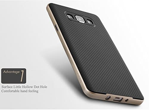 Original iPaky Brand Luxury High Quality Ultra-Thin Dotted Silicon Black Back + PC Golden Frame Bumper Back Case Cover For Samsung Galaxy A5 -Black Golden 3