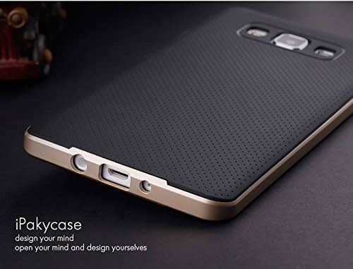 Original iPaky Brand Luxury High Quality Ultra-Thin Dotted Silicon Black Back + PC Golden Frame Bumper Back Case Cover For Samsung Galaxy A5 -Black Golden 7