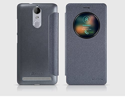 Nillkin Sparkle Smart Window & Sleep Function Leather Flip Cover Case for Lenovo K5 Note ( 5.5 inch Display ) - Grey / Black 1