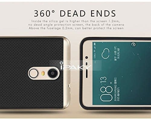 iPaky Luxury Ultra-Thin Dotted Silicon Back + PC Gold Frame Bumper Back Case Cover for Xiaomi Redmi Note 3 ,Gold 7