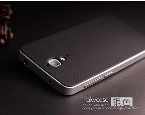 Original iPaky Brand Luxury High Quality Ultra-Thin Dotted Silicon Black Back + PC Silver Frame Bumper Back Case Cover For Xiaomi mi 4 - Black Silver 8