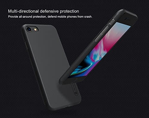 """Nillkin Combo Pack of Frosted Shield Matte Hard Back Cover Case & Screen Protector for Apple iPhone 8 4.7"""" without Logo Hole (Black) 5"""
