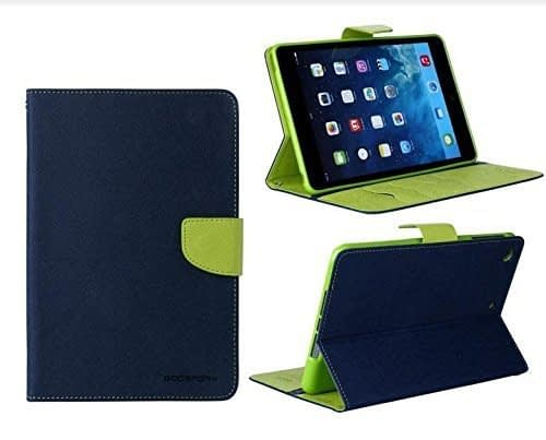 DW Mercury Folding Flip Folio PU Leather with 4 card slot Stand Case Cover for Samsung Galaxy Tab S2 9.7inch T810 Android Tablet Case - Blue+Green 1