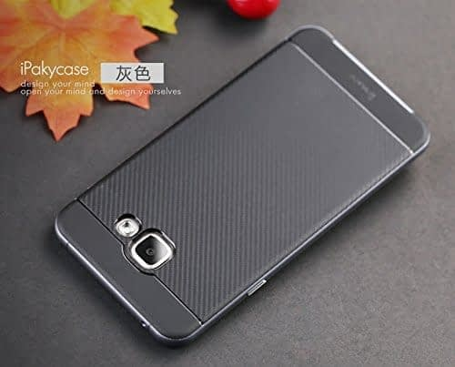iPaky Brand High Quality Silicon Black Back + PC Grey Frame Shockproof Back Cover for Samsung Galaxy A7 -2016 Dual Sim SM-A710F 3