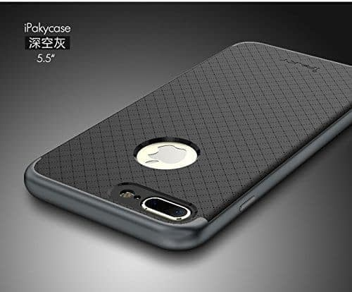 "[ For Apple iPhone 7 Plus ( 5.5"" ) ] Original iPaky Ultra Slim Fit Dual Layer [ Soft TPU + Hard PC ] Hybrid Bumper Back Case Cover Protective Skin for Apple iPhone 7 Plus ( 5.5 inch ) ( Grey Bumper + Black Back ) 1"