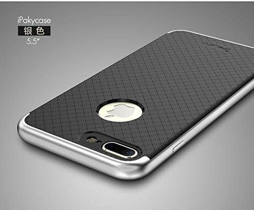 """[ For Apple iPhone 7 Plus ( 5.5"""" ) ] Original iPaky Ultra Slim Fit Dual Layer [ Soft TPU + Hard PC ] Hybrid Bumper Back Case Cover Protective Skin for Apple iPhone 7 Plus ( 5.5 inch ) ( Silver Bumper + Black Back ) 1"""