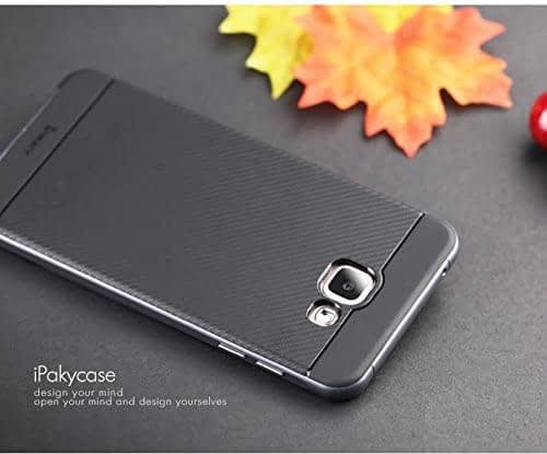 iPaky Brand High Quality Silicon Black Back + PC Grey Frame Shockproof Back Cover for Samsung Galaxy A7 -2016 Dual Sim SM-A710F 6