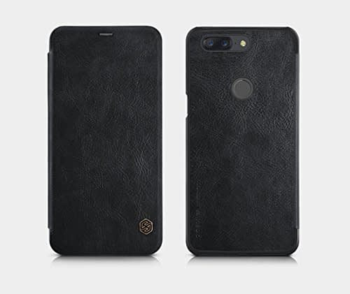Nillkin Qin Series Royal Leather Flip Case Cover Case for Oneplus 5t (BLACK) 1