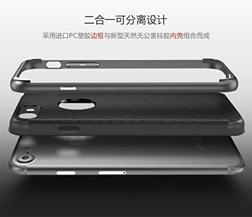 "[ For Apple iPhone 7 Plus ( 5.5"" ) ] Original iPaky Ultra Slim Fit Dual Layer [ Soft TPU + Hard PC ] Hybrid Bumper Back Case Cover Protective Skin for Apple iPhone 7 Plus ( 5.5 inch ) ( Grey Bumper + Black Back ) 4"