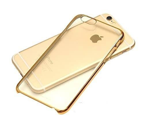 """Meephone Noble Series Transparent / Clear Hard Plastic Back Cover Case for Apple iPhone 7 ( 4.7"""" ) ( Gold Lining ) 1"""