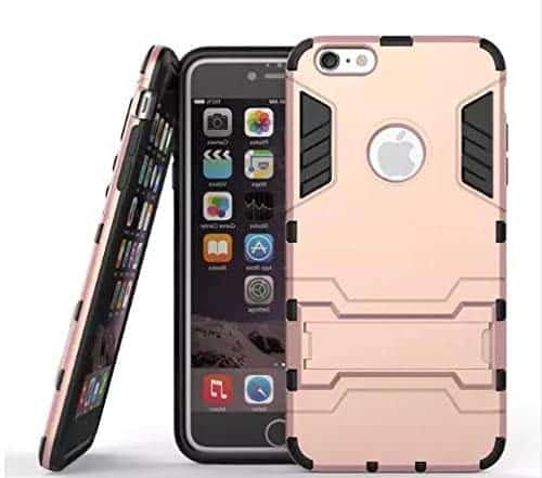 Royal Star Graphic Kickstand Hard Dual Rugged Armor Hybrid Bumper Back Cover Case for (Apple iPhone 6 / 6S, Rose Gold) 1