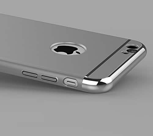 iPaky Chrome 3 Piece Hybrid Protective Back Case Cover for Apple iPhone 6 6S - Silver 9