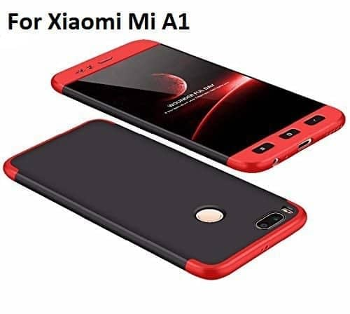 Royal Star Luxury Design Full Body 3-in-1 Slim Fit Complete 360 Degree Protection Hybrid Matte Finish Hard Bumper Back Cover Case for Xiaomi Redmi Mi A1 (Black Red) 1