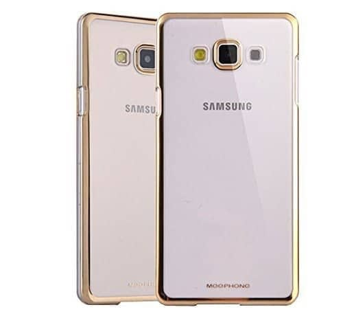 Meephone Transparent Hard Plastic Back Cover Case for Samsung Galaxy J7 (6) 2016 ( Gold Lining ) 1