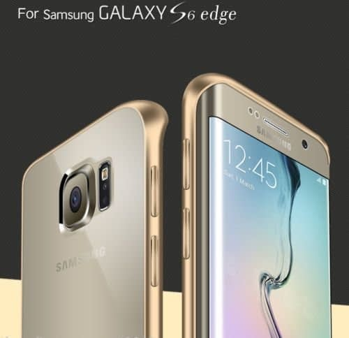 Meephone Gold Plated Transparent Hard Plastic Back Cover Case for Samsung Galaxy S6 Edge S6Edge ( Gold ) 1