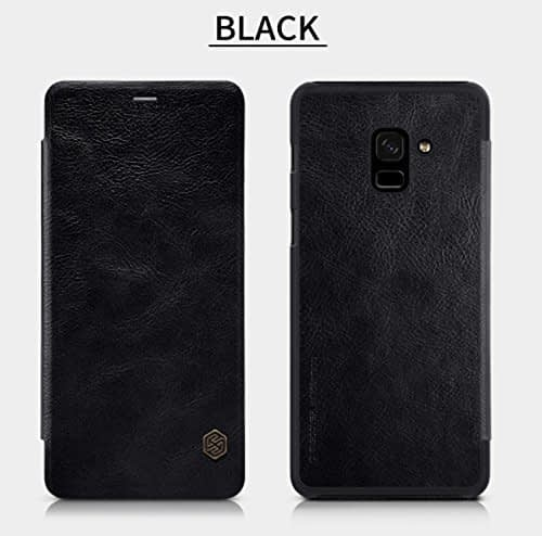 Nillkin Qin Series Royal Leather Flip Case Cover for Samsung Galaxy A8 Plus (2018) (BLACK) 1