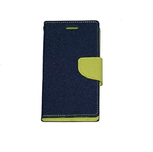 J.N. Mercury Fancy Diary Card Wallet Flip Case Back Cover For Micromax Canvas 2 Colors A120 - Blue Green 4