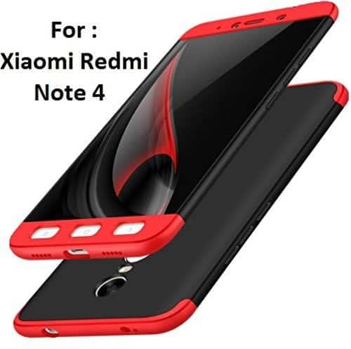 Royal Star Luxury Design Full Body 3-in-1 Slim Fit Complete 360 Degree Protection Hybrid Matte Finish Hard Bumper Back Cover Case for Xiaomi Redmi Note 4 (Black & Red) 1