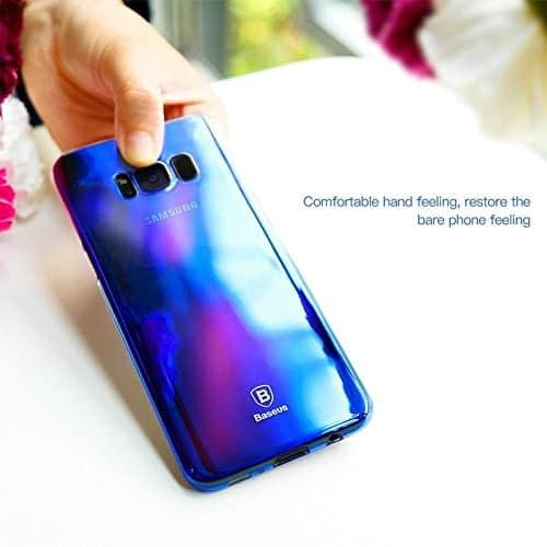 Baseus Glaze Colorful Case Ultra Thin Anti-Scratch Shockproof Double Colors Hard Plastic PC Protective Back Cover Case for Samsung Galaxy (Samsung Galaxy S8 Plus, Blue) 3