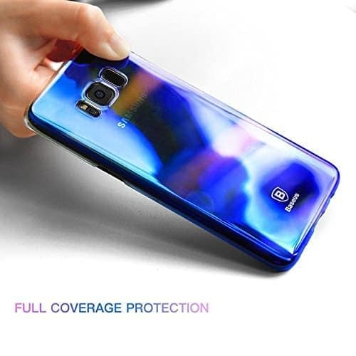 Baseus Glaze Colorful Case Ultra Thin Anti-Scratch Shockproof Double Colors Hard Plastic PC Protective Back Cover Case for Samsung Galaxy (Samsung Galaxy S8 Plus, Blue) 5
