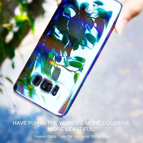 Baseus Glaze Colorful Case Ultra Thin Anti-Scratch Shockproof Double Colors Hard Plastic PC Protective Back Cover Case for Samsung Galaxy (Samsung Galaxy S8 Plus, Blue) 1