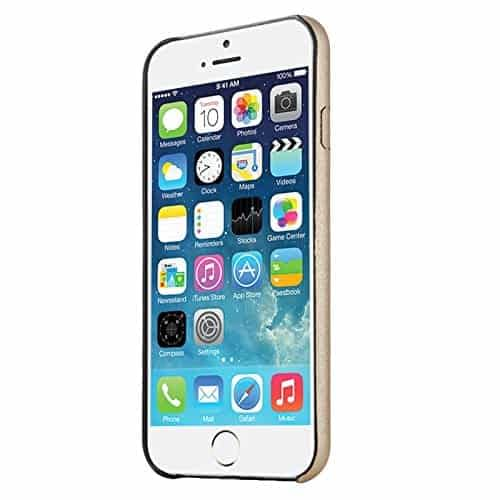 Baseus Super Ultra Thin 1mm PU Leather Finish Back Cover Case for iPhone 6, 4.7-Inch (Gold) 5