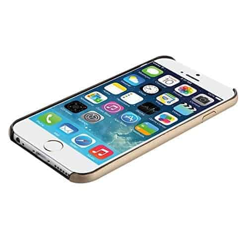 Baseus Super Ultra Thin 1mm PU Leather Finish Back Cover Case for iPhone 6, 4.7-Inch (Gold) 7