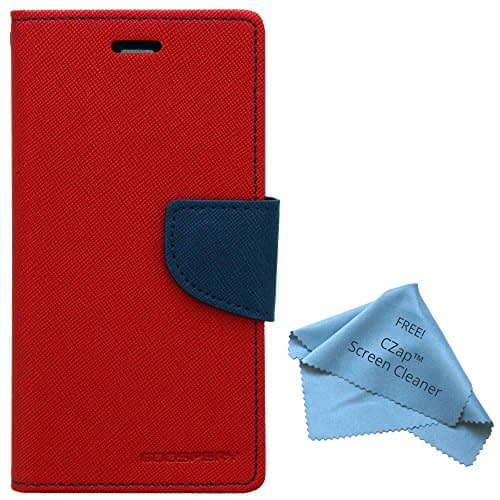 CZap Mercury Diary Goospery Card Wallet Flip Cover Back Case for Sony Xperia E3 Dual D2203 D2206 D2212 - Red Blue 1