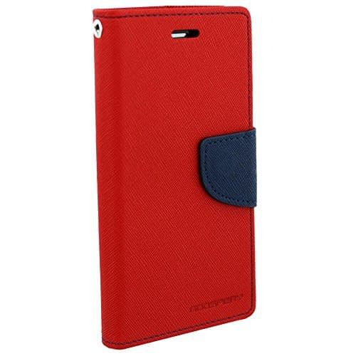 Cubezap Mercury Diary Card Wallet Flip Case Back Cover for Samsung Galaxy E7 – Red Blue 1