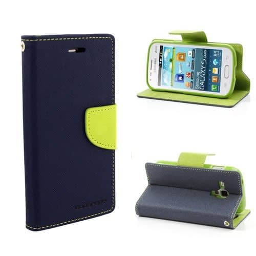 Cubezap Mercury Diary Card Wallet Flip Case Back Cover for Samsung Galaxy S Duos 2 S7562 S7582 - Green Blue 1