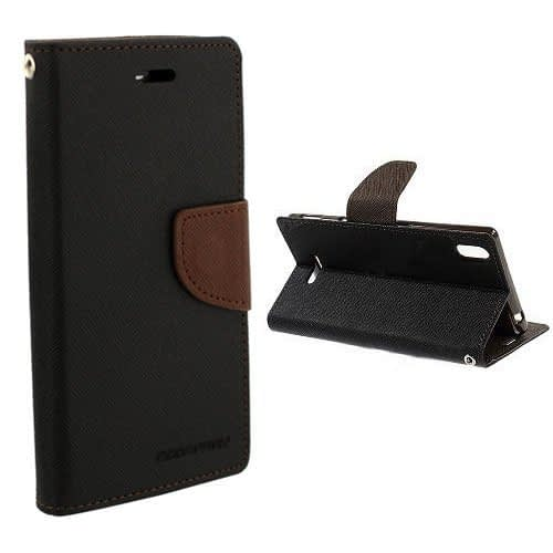 Cubezap Mercury Diary Card Wallet Flip Case Back Cover for Sony Xperia T3 Experia T 3 - Brown Black 1