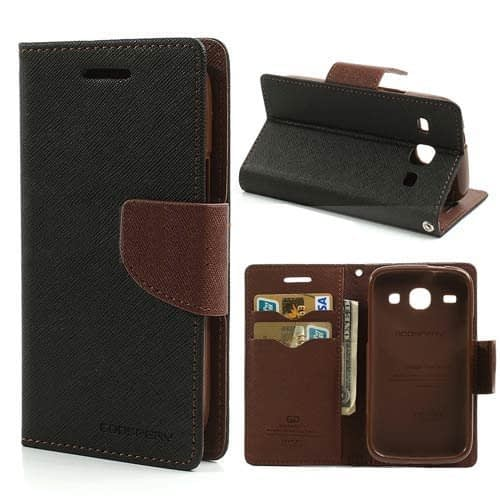 Cubezap Mercury Goospery Fancy Diary Card Wallet Flip Case Back Cover for Samsung Galaxy Core i8262 - Brown Black 1
