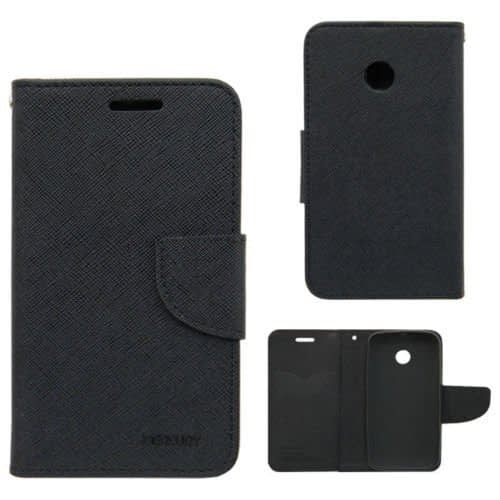 Cubezap Mercury Goospery Fancy Diary Wallet Flip Case Back Cover for Motorola Moto E MotoE - Black 1
