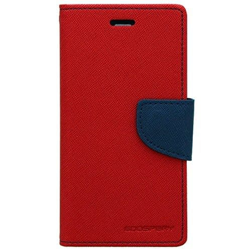 Cubezap Mercury Goospery Fancy Diary Wallet Flip Case Back Cover for Motorola Moto G 2nd Gen - Red Blue 1