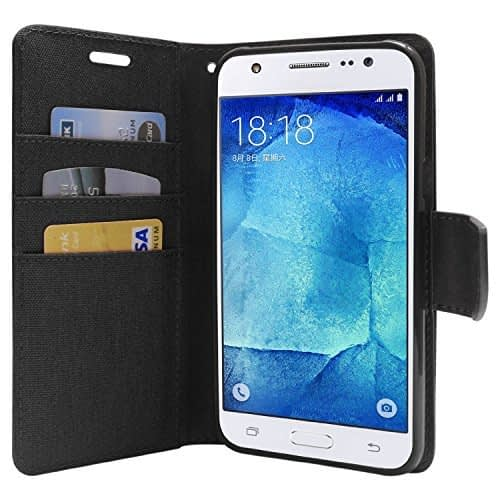 DW Canvas Dairy Mercury Fancy Diary CARD Wallet Flip Case Back Cover for Samsung Galaxy Grand Prime G530H ( Black ) 1