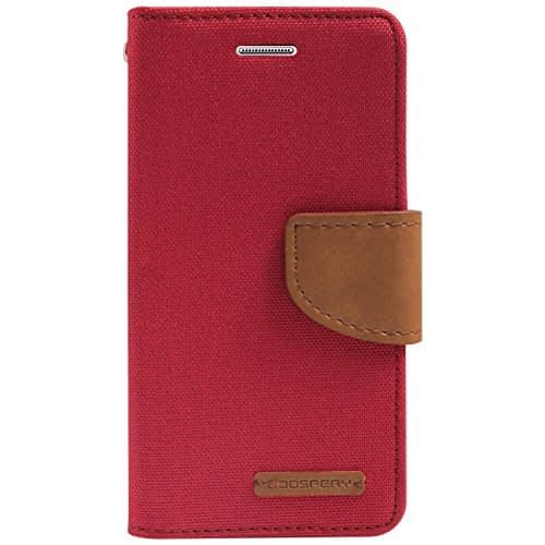 DW Canvas Dairy Mercury Fancy Diary CARD Wallet Flip Case Back Cover for Samsung Galaxy Grand Prime G530H ( Red ) 1