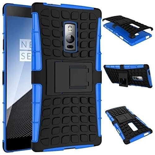 DW Kick Stand Spider Hard Dual Rugged Armor Hybrid Bumper Back Case Cover For OnePlus 2 Two Mobile - Blue 1