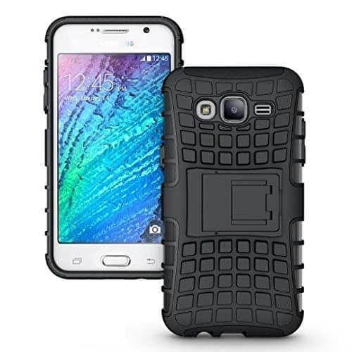 DW Kick Stand Spider Hard Dual Rugged Armor Hybrid Bumper Back Case Cover For Samsung Galaxy J7 Dual Sim - Black 1