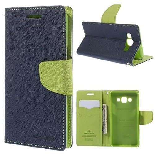 DW Mercury Fancy Diary CARD Wallet Flip Case Back Cover for Samsung Galaxy Grand Prime G530 (Blue) 1