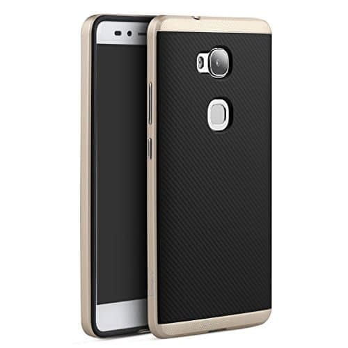 Ipaky Silicon Inner Black Back Bumper Back Cover For Huawei Honor 5X - Golden 1