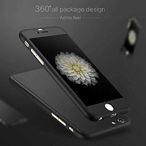 JMV iPhone 6 Case 4.7 Inch All-round All-round Protective Slim Fit Case Cover with Tempered Glass Screen Protector Skin Slim Fit Case Cover for Apple iPhone 6/6S 4.7 Inch (Black) 1