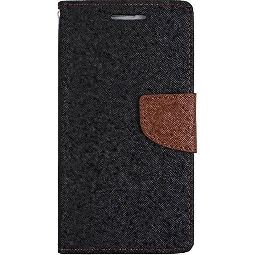 J.N. Mercury Fancy Diary Card Wallet Flip Case Back Cover For Micromax Canvas Nitro 2 E311 - Black Brown 1
