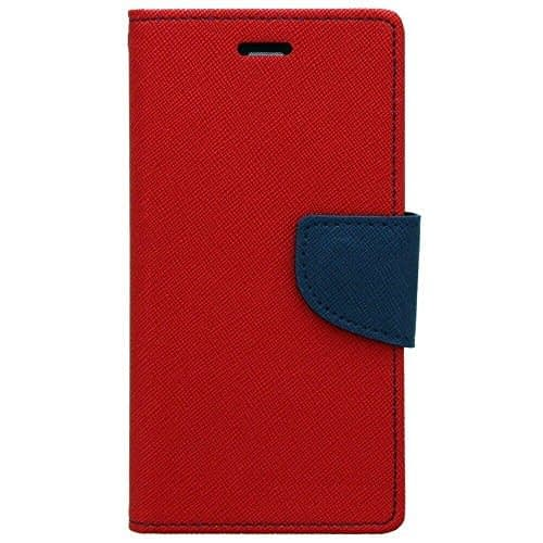 J.N. Mercury Fancy Diary Card Wallet Flip Case Back Cover For Micromax Canvas Unite 3 Q372 - Red 1